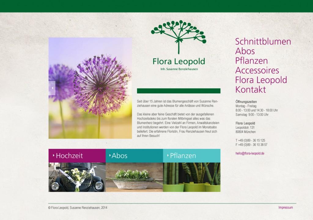 Webdesign, Flora Leopold, Startseite