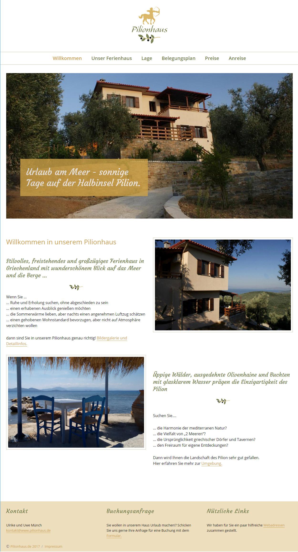 Pilionhaus, website, Homepage