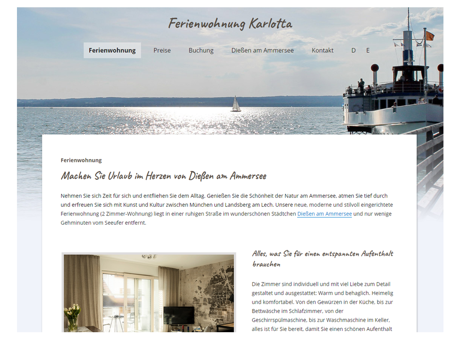Fewo Karlotta, Launch der Website