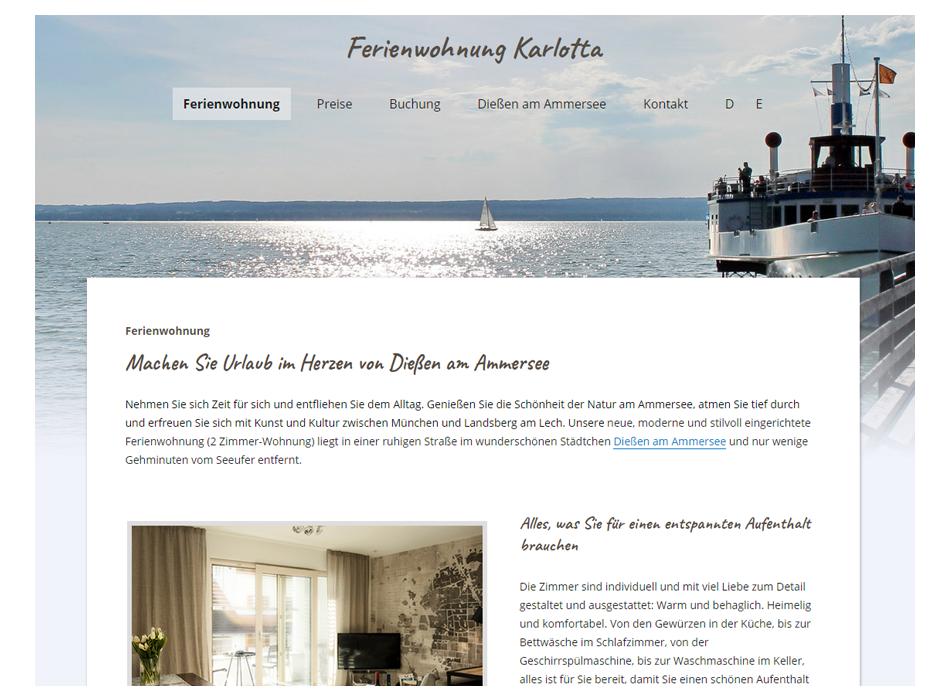 Fewo Karlotta, Launch der Website