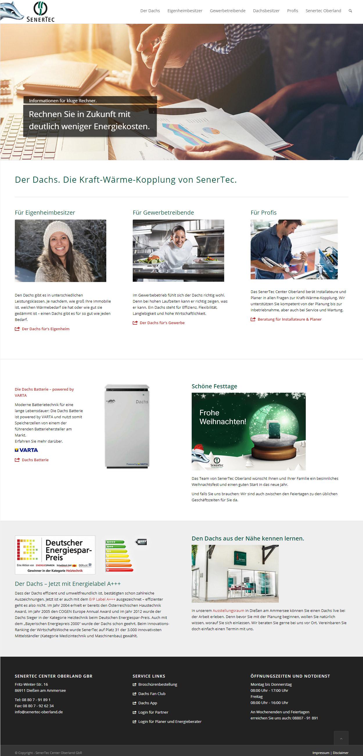 SenerTec Center Oberland Website