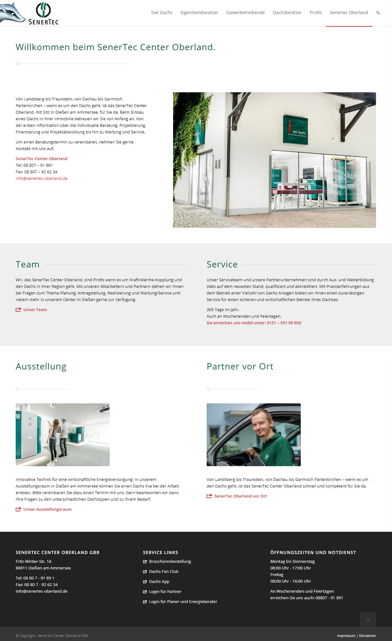 SenerTec Center Oberland Website