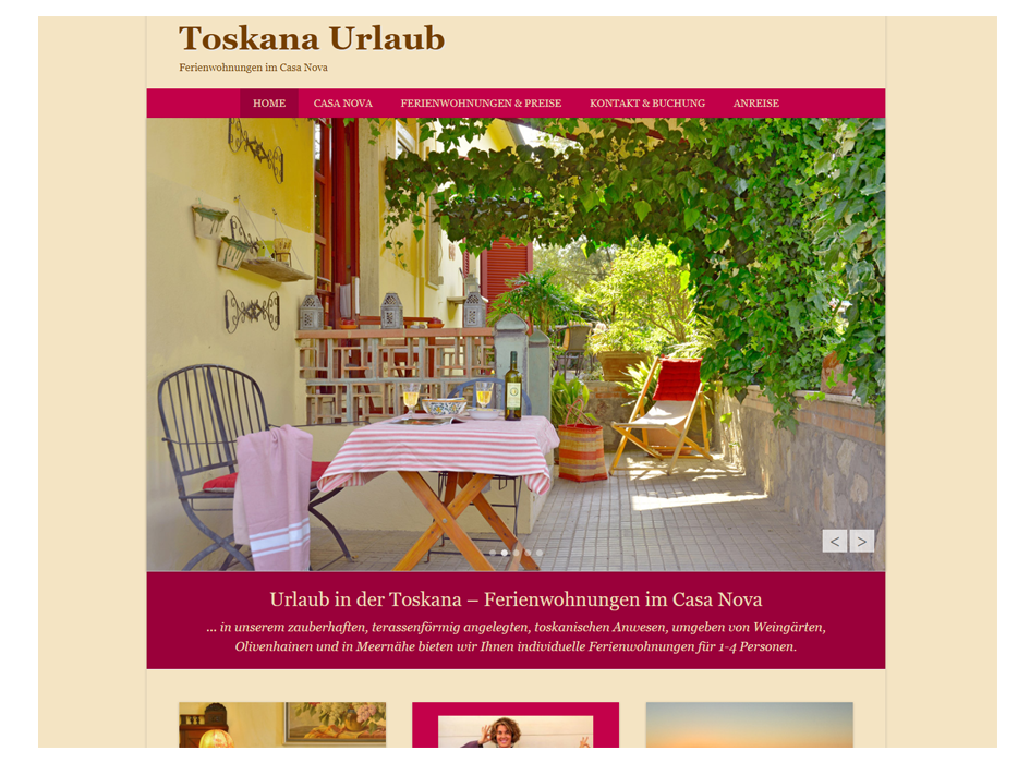 Toskana Urlaub Website Relaunch