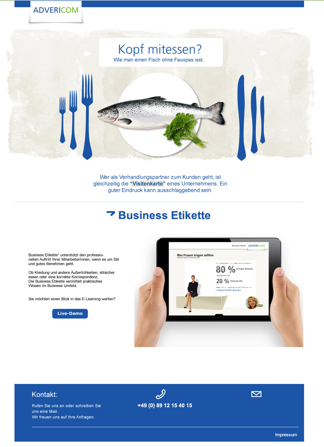 Landingpage Business Etikette