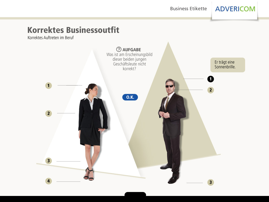 Business Etikette Seitenlayout