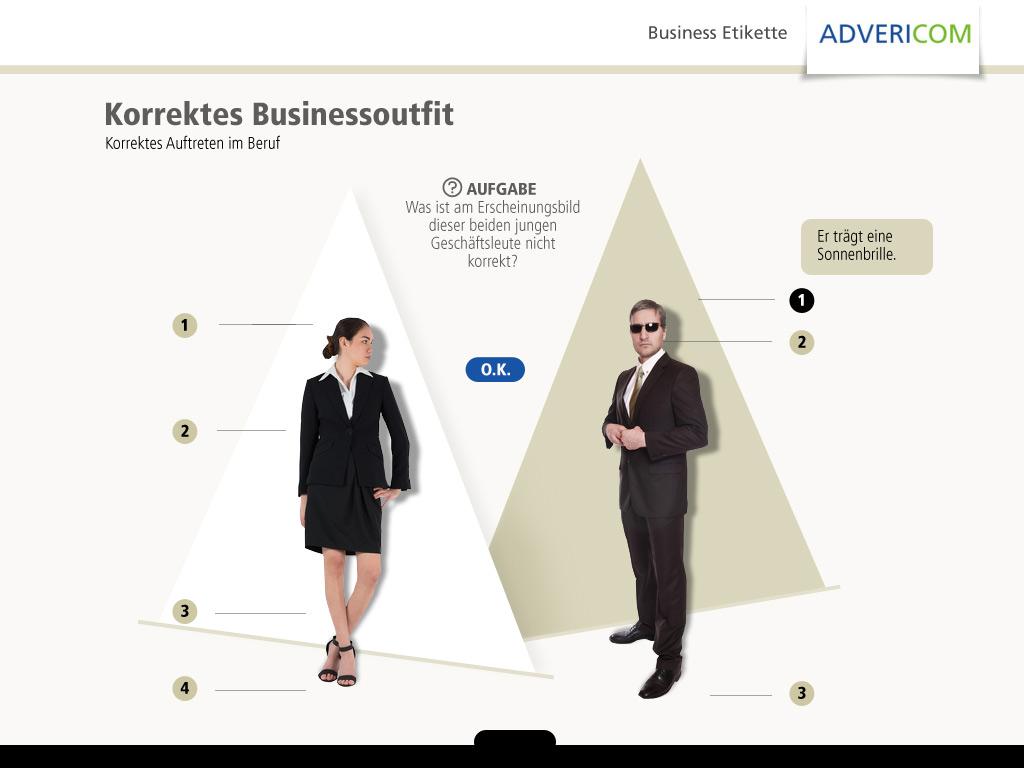 Business Etikette Seitenlayout